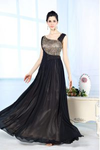 Cheap Floor Length Column/Sheath Sleeveless Black Prom Dresses Side Zipper