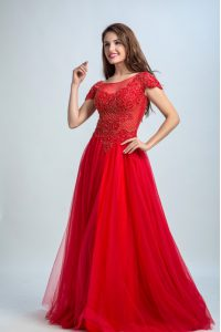 Fashionable Floor Length Zipper Evening Dress Red for Prom and Party with Lace