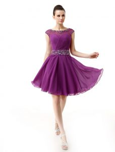 A-line Homecoming Dress Dark Purple Scoop Silk Like Satin Cap Sleeves Mini Length Side Zipper
