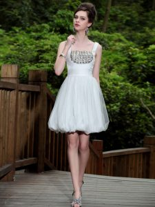Chiffon Sleeveless Knee Length Prom Dresses and Beading