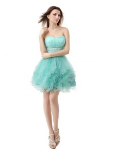 Ruffled Turquoise Sleeveless Organza Zipper Homecoming Dress for Prom and Party