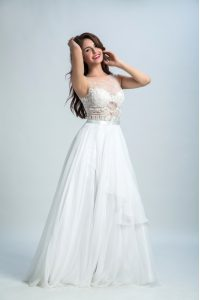Fashionable White Sleeveless Tulle Zipper Prom Evening Gown for Prom and Party