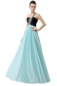 Fashionable One Shoulder Floor Length Empire Sleeveless Blue And Black Prom Dresses Zipper