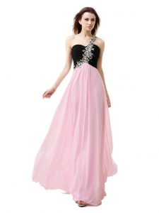 Custom Designed Pink And Black Chiffon Zipper One Shoulder Sleeveless Floor Length Prom Dress Beading and Appliques and Ruffles