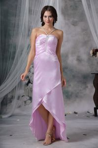 Lavender Straps High-low Prom Dress with Beading in Galveston TX