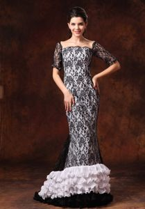 Black And White Lace Prom Gowns with Half Sleeves in Athens Alabama