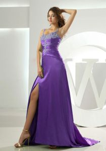 Beaded Straps Purple Prom Dress with Ruching and Beading in Knoxville