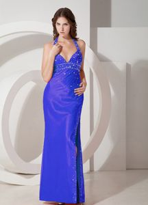 Blue Halter Beaded Prom Gown Dress in Floor-length in College Station