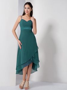 Turquoise High-low Prom Dress with Spaghetti Straps in Lewisville TX