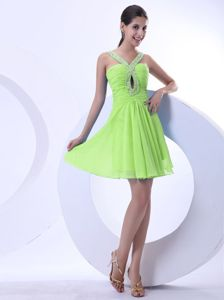Popular Spring Green Beaded Mini Prom Dresses with Cutout under 150
