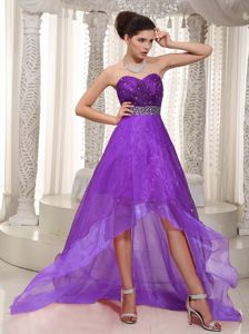 Wholesale High-low Sweetheart Eggplant Purple Prom Dress with Beading