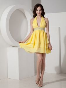 Brand New Halter Beaded Yellow Mini Dress for Prom with Ruffled Layers