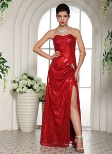 Glitz Sequin Slitted Wine Red Formal Prom Attire for Celebrity in Hudson NH