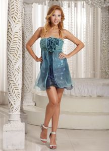 Special Style Strapless Organza Blue Mini Prom Dress with Big Handmade Flower