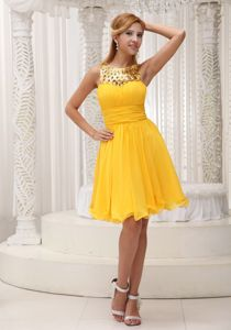 Yellow Short Junior Prom Dress for Summer with Special Scoop Neck