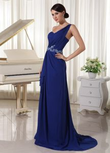 Beautiful Appliqued Royal Blue Long Prom Gown Dresses One Shoulder