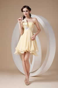 Light Yellow Strapless Ruching Appliqued Dresses for Formal Prom