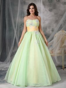 Sweet Yellow Green Sweetheart Senior Prom Dress with Appliques
