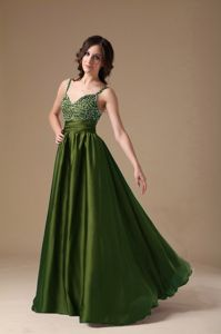 Dark Green Spaghetti Straps Prom Dresses with Beading in London