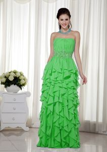 Flattering Ruffled Beaded Strapless Prom Gown Dress Spring Green