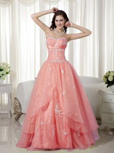 Puffy Sweetheart Appliqued Dress for Formal Prom in Kelso Borders