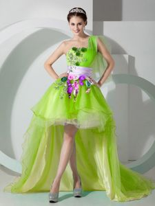Hand Made Flowers Accent High-low Yellow Green Prom Attire Hot