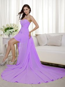 Gorgeous Lavender High-low Sweetheart Prom Dresses with Beads