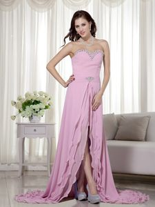 Detachable Sweetheart Beaded Chiffon Dress for Prom in Duns Borders