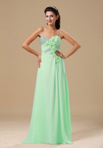 Apple Green Chiffon Prom Gown Dress with Floral Embellishment