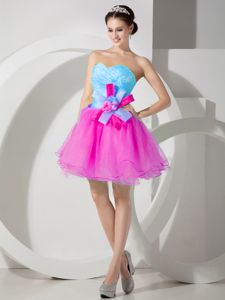 Pretty Multi-color Sweetheart Prom Attire with Hand Made Flowers