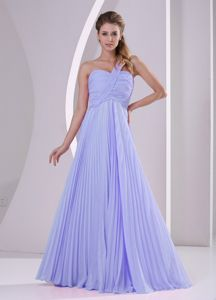 Custom Made Single Shoulder Ruched Lilac Prom Outfits with Pleat
