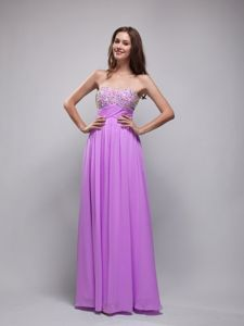 Lavender Sweetheart Chiffon Prom Dresses with Rhinestone Bodice