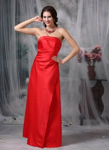 Red Strapless Sheath Floor-length Prom Dresses with Lace Up Back in Canoga Park
