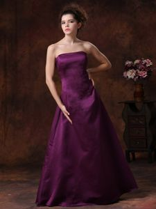 Purple Strapless A-line Floor-length Prom Gowns with Ruffles in Boynton Beach