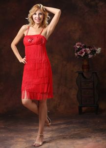 Red Spaghetti Straps Knee-length Prom Gown with Tassel and Sequins in Evergreen