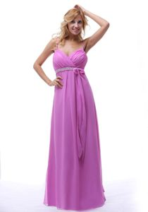 Latest Lilac Spaghetti Straps Ruched Empire Prom Dress with Bowknot in Camarillo