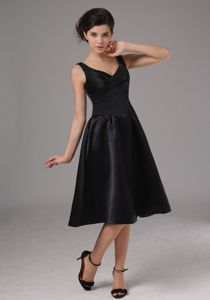 Simple Black Semi-formal Prom Dresses with Straps in Tea Length in Hermosa Beach