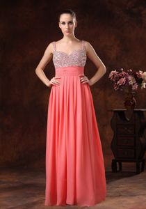 Beaded Watermelon Red Prom Gowns with Spaghetti Straps Floor-length in Friant
