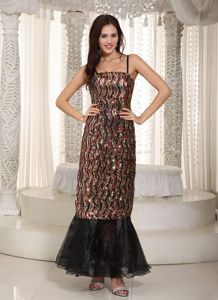 Ankle-length Sequins Sheath Prom Dresses in Multi-color with Spaghetti in Hialeah