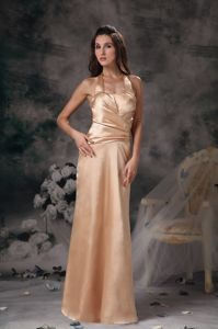 Champagne Dresses for Prom with Halter Top Ruching Floor-length in Claremont