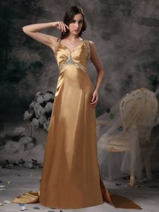 Gold Dresses for Prom Straps Beading Criss-cross Back with Brush Train in Alhambra