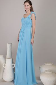 Sweetheart Ruched Aqua Blue Floor-length Prom Gown with One Shoulder in Hilo
