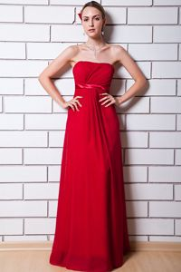Simple Style Chiffon Strapless Wine Red Long Prom Gown for 2014 Summer