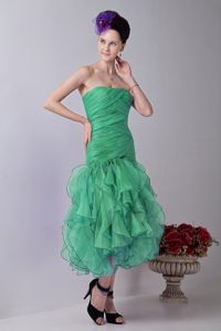 Strapless Tea-length Turquoise Prom Gown Dress with Ruffled Hem