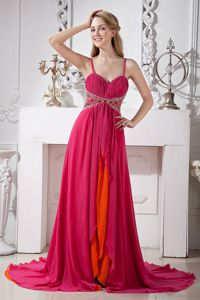 Hot Pink Chiffon Spaghetti Straps Prom Gown in Bald Head Island NC