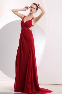 Wine Red Long Prom Outfits with Beading and Cool Back Burnsville USA