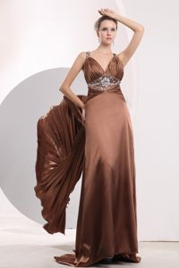 Elegant Beaded Brown Long Prom Dress with Pleated Watteau Train in Durant OK