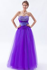 Tulle Light Purple Long Junior Prom Dress with Sweetheart Neck Free Shipping