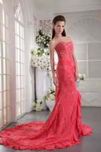 Court Train Chiffon Appliqued Coral Red Formal Prom Dress in Claremore OK