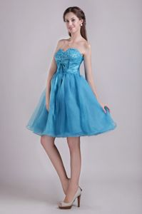 Cute Organza Short Teal Prom Dress for Summer with Bow and Beads